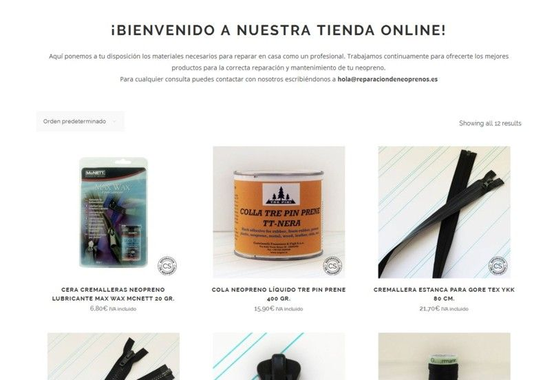 nueva web tienda online reparacion de neoprenos coco sobrarbe tienda