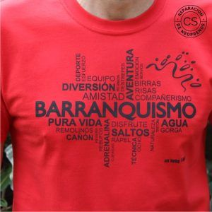 camiseta barranquismo nube detalle camiseta tecnica ropa material barranquismo canyoneering tshirt outfit equipment not boring t-shirts